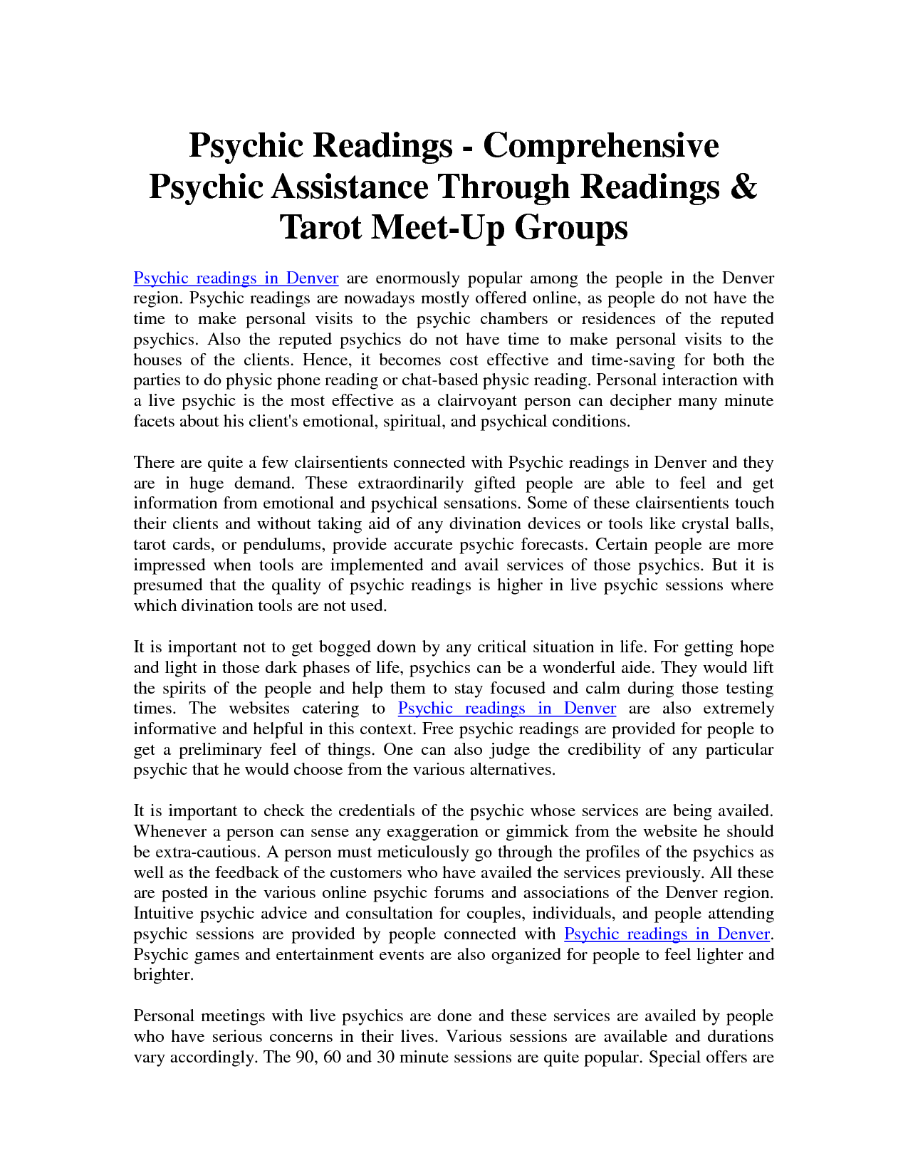 psychic reading denver