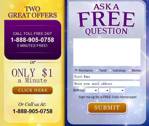 free psychic reading call